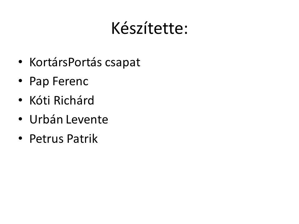 Készítette: KortársPortás csapat Pap Ferenc Kóti Richárd Urbán Levente Petrus Patrik