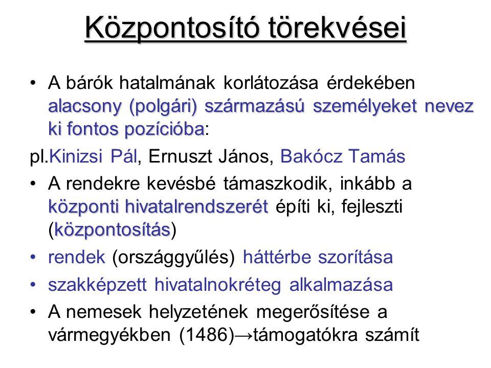 Mátyás reneszánsz udvara ÉpítkezésekÉpítkezések: budai és visegrádi palota kiépítése KönyvtárfejlesztésKönyvtárfejlesztés (2000-2500 kötet): díszes corvinák, egyedülálló ritkaságok Humanista tudósokHumanista tudósok: (reneszánsz alkotók) Bonfini - Bonfini történetíró, Galeotto Marzio - Galeotto Marzio költő, Janus Pannonius - Janus Pannonius költő