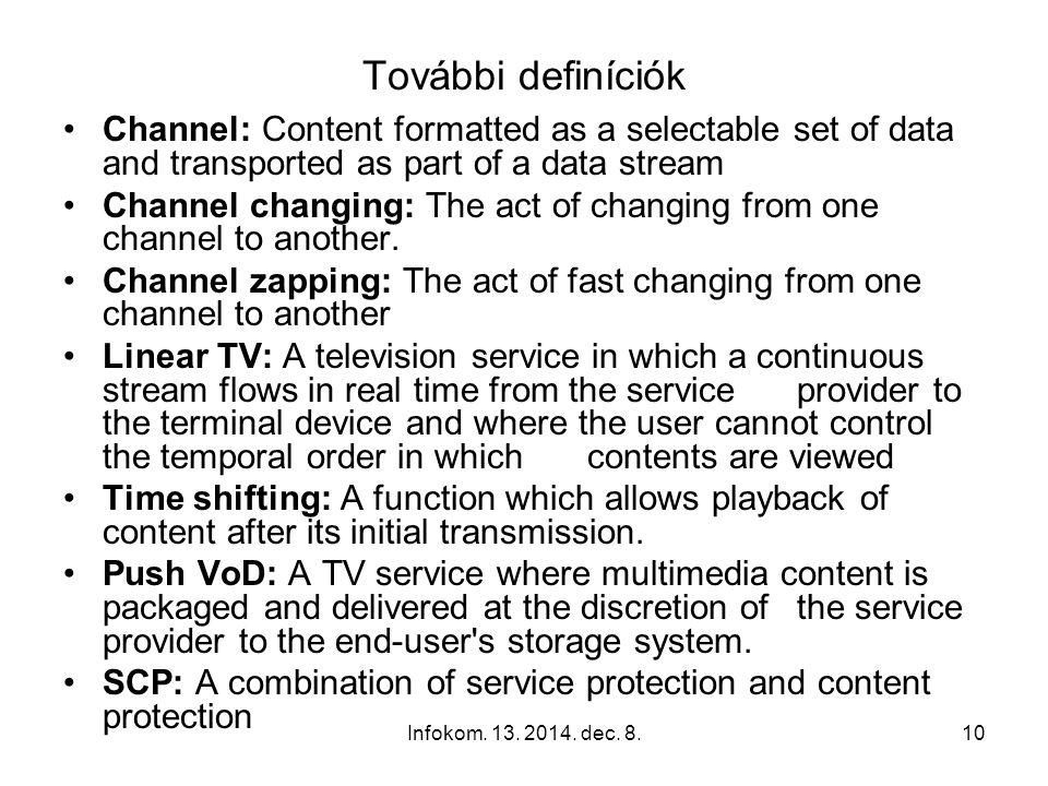 Infokom. 13. 2014. dec. 8.9 Definíciók IPTV (Internet Protocol Television) is a system where a digital television service is delivered using Internet