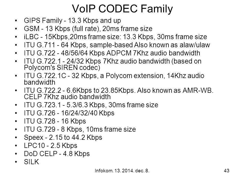 Infokom. 13. 2014. dec. 8.42 VoIP CODECS As an example, a Cisco ATA-186 supports these codecs: G.723.1, G.711a, G.711u, G.729a As an example, a Cisco