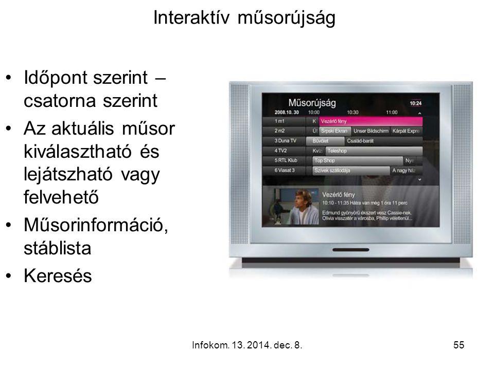 Infokom. 13. 2014. dec. 8.54 A T-Home IPTV szolgáltatással elérhetô legfontosabb kényelmi funkciók: Interaktív műsorújság (EPG) Kép a képben (PIP) Fil