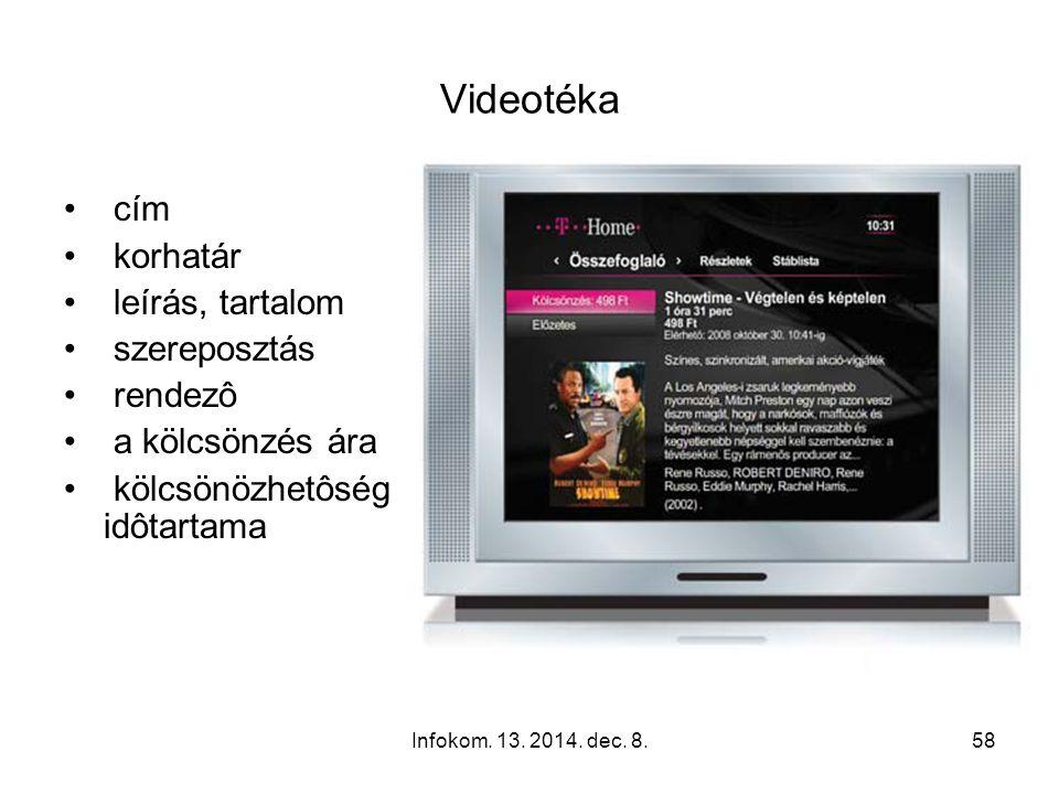 Infokom. 13. 2014. dec. 8.57 Filmek, vagy akár teljes sorozatok rögzítése Felvett műsorok Felvételre váró műsorok Új felvétel beállítása