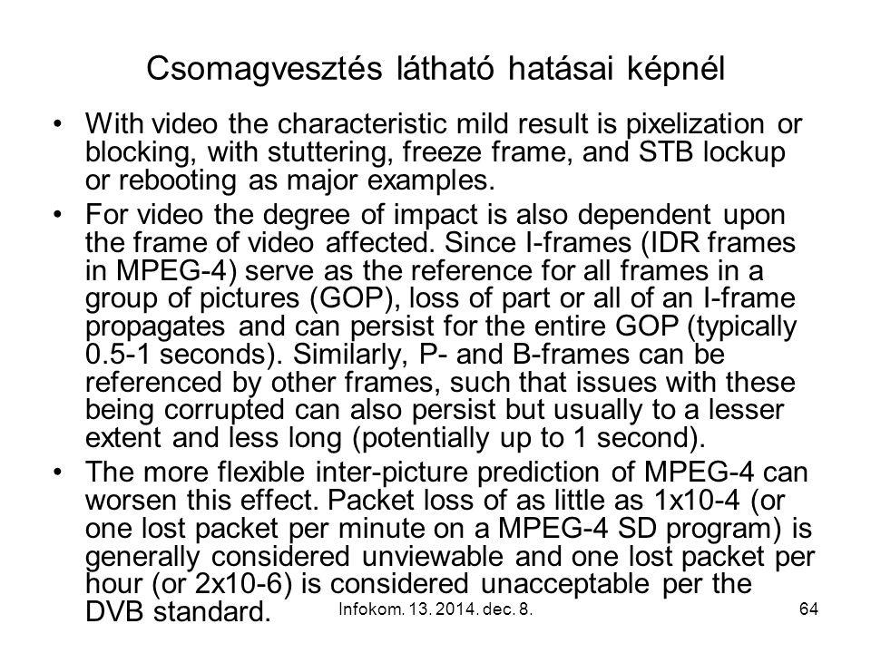 Infokom. 13. 2014. dec. 8.63 Csomagvesztés hallható hatásai hangnál Packet loss of audio can be exhibited as dropouts (kimaradás), squeaking (nyikorgá
