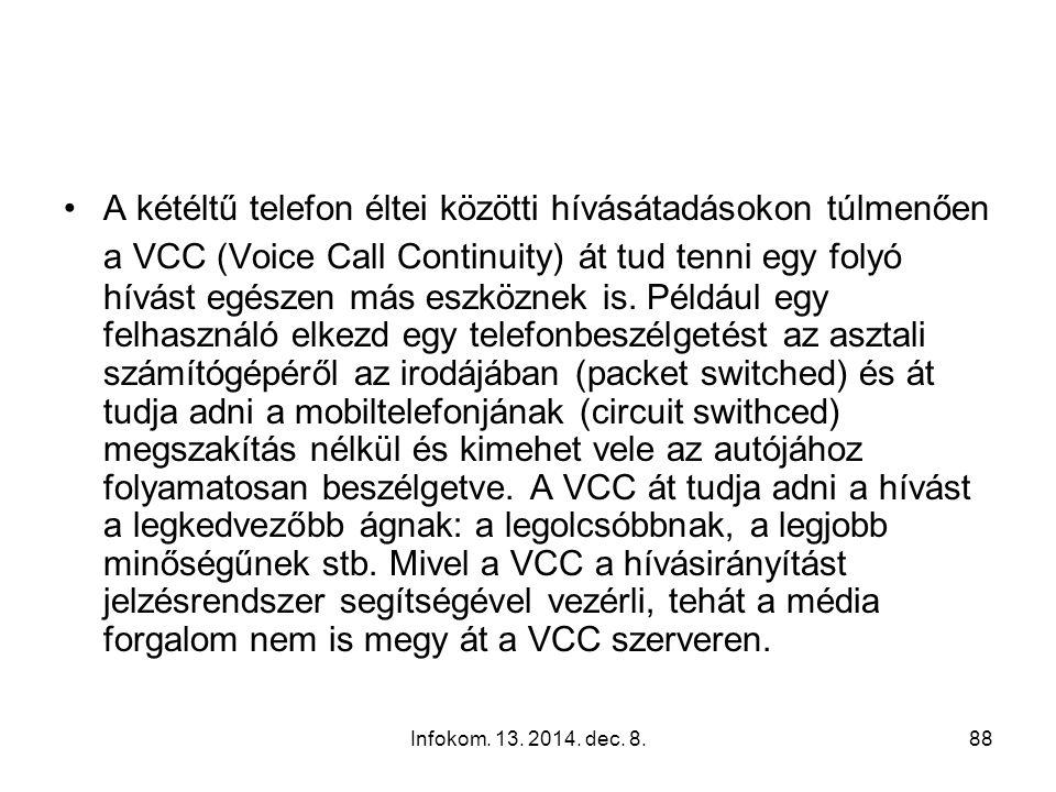 """Infokom. 13. 2014. dec. 8.87 Hálózati hozzáférés és hívásátadás """"kétéltű"""" készülékkel IMS (IP Multimedia Subsystem) alapon"""