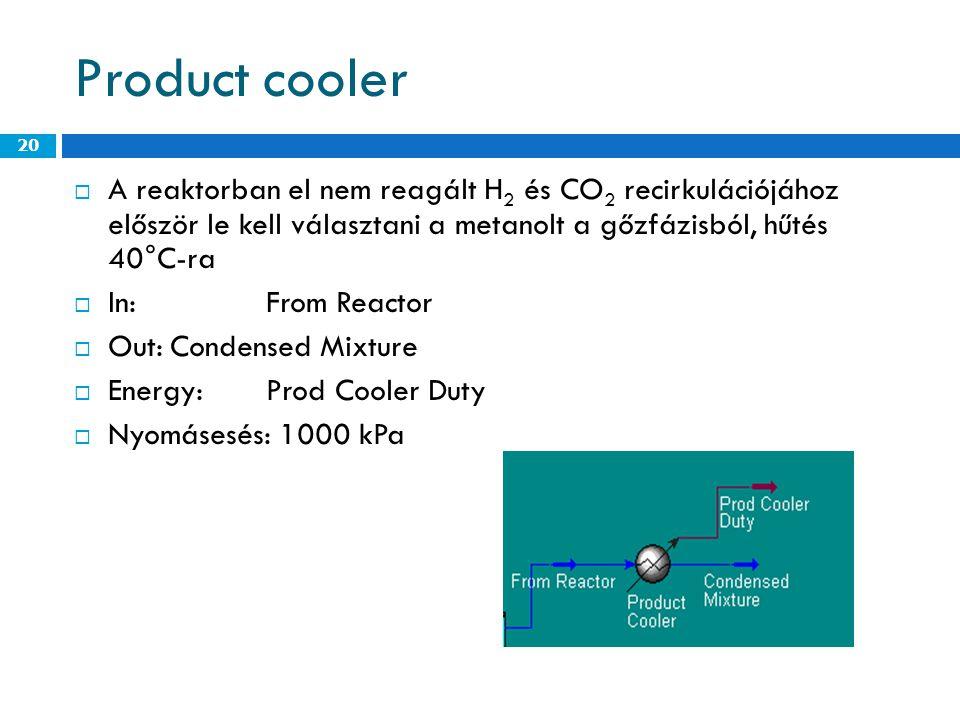 Product cooler  A reaktorban el nem reagált H 2 és CO 2 recirkulációjához először le kell választani a metanolt a gőzfázisból, hűtés 40°C-ra  In:From Reactor  Out:Condensed Mixture  Energy:Prod Cooler Duty  Nyomásesés: 1000 kPa 20