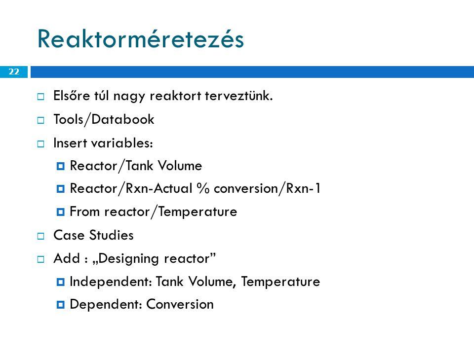 Reaktorméretezés  Elsőre túl nagy reaktort terveztünk.