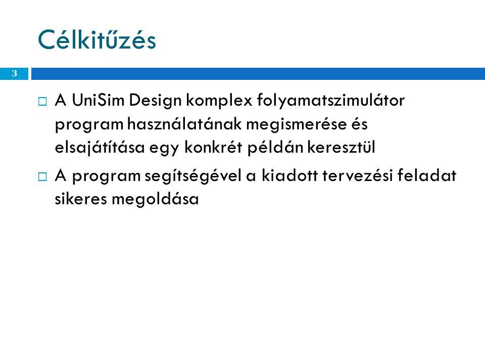 Célkitűzés  A UniSim Design komplex folyamatszimulátor program használatának megismerése és elsajátítása egy konkrét példán keresztül  A program segítségével a kiadott tervezési feladat sikeres megoldása 3