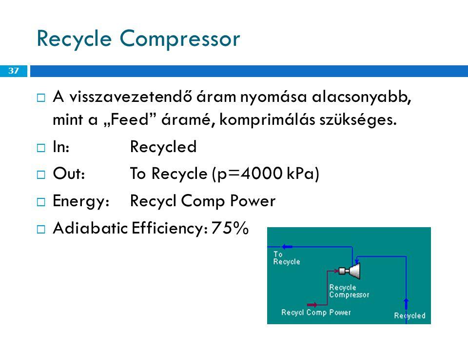 """Recycle Compressor  A visszavezetendő áram nyomása alacsonyabb, mint a """"Feed áramé, komprimálás szükséges."""