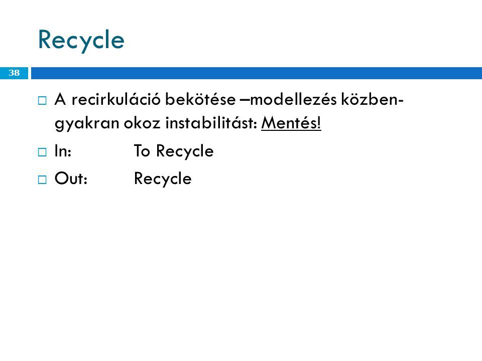 Recycle  A recirkuláció bekötése –modellezés közben- gyakran okoz instabilitást: Mentés.