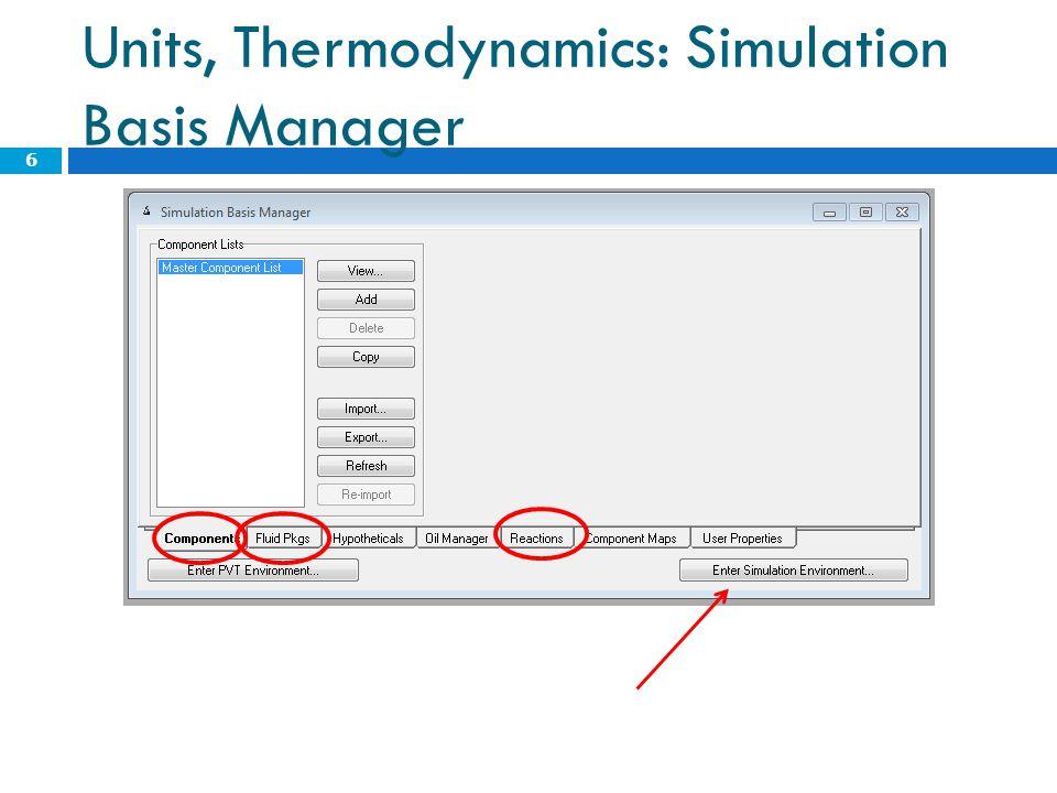 Units, Thermodynamics: Simulation Basis Manager 6