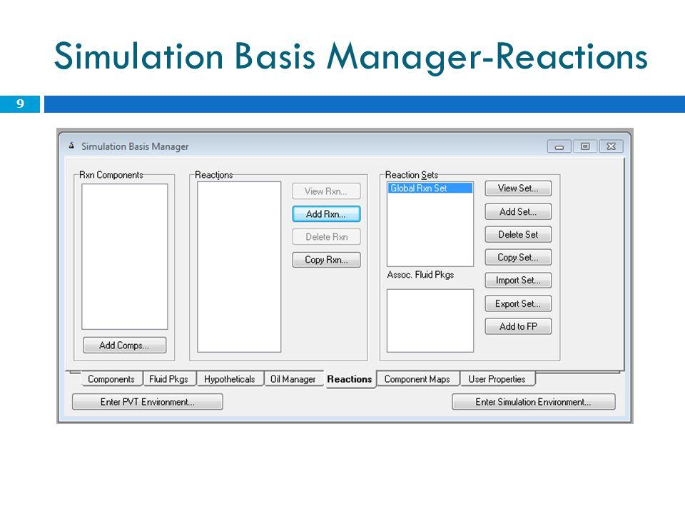 Simulation Basis Manager  Reakció megadása  Kinetikus reakció  Stoichiometry  Basis  Molar concn  Vapour phase  Basis units: kmol/m3  Rate units: kmol/m3h  Parameters: A, E, A', E' 10
