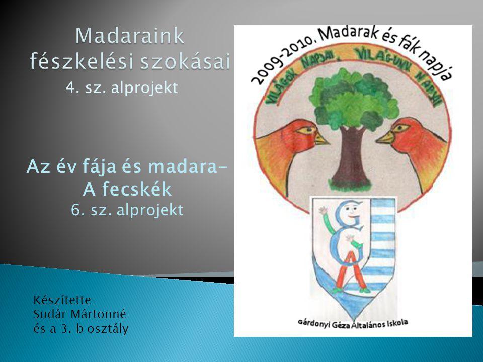 4. sz. alprojekt Készítette: Sudár Mártonné és a 3.