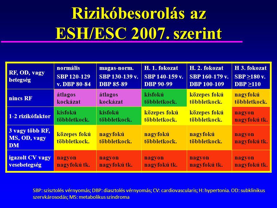 SBP: szisztolés vérnyomás; DBP: diasztolés vérnyomás; CV: cardiovascularis; H: hypertonia. OD: subklinikus szervkárosodás; MS: metabolikus szindroma R