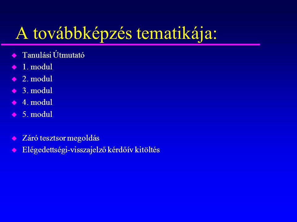 A továbbképzés tematikája: u Tanulási Útmutató u 1. modul u 2. modul u 3. modul u 4. modul u 5. modul u Záró tesztsor megoldás u Elégedettségi-visszaj