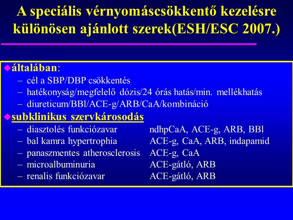 A speciális vérnyomáscsökkentő kezelésre különösen ajánlott szerek(ESH/ESC 2007.) u általában: –cél a SBP/DBP csökkentés –hatékonyság/megfelelő dózis/