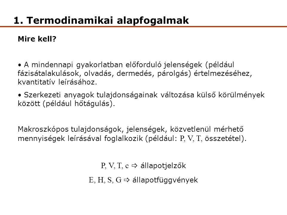 1. Termodinamikai alapfogalmak Mire kell? A mindennapi gyakorlatban előforduló jelenségek (például fázisátalakulások, olvadás, dermedés, párolgás) ért