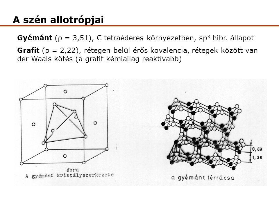 A szén allotrópjai Gyémánt (ρ = 3,51), C tetraéderes környezetben, sp 3 hibr. állapot Grafit (ρ = 2,22), rétegen belül érős kovalencia, rétegek között