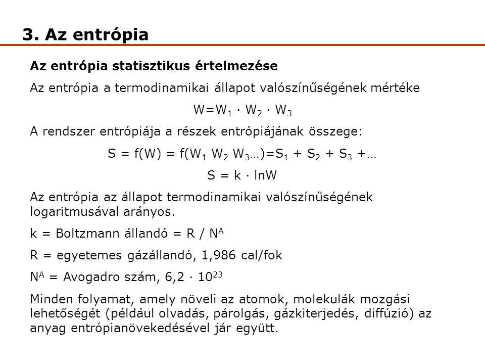 3. Az entrópia Az entrópia statisztikus értelmezése Az entrópia a termodinamikai állapot valószínűségének mértéke W=W 1 · W 2 · W 3 A rendszer entrópi