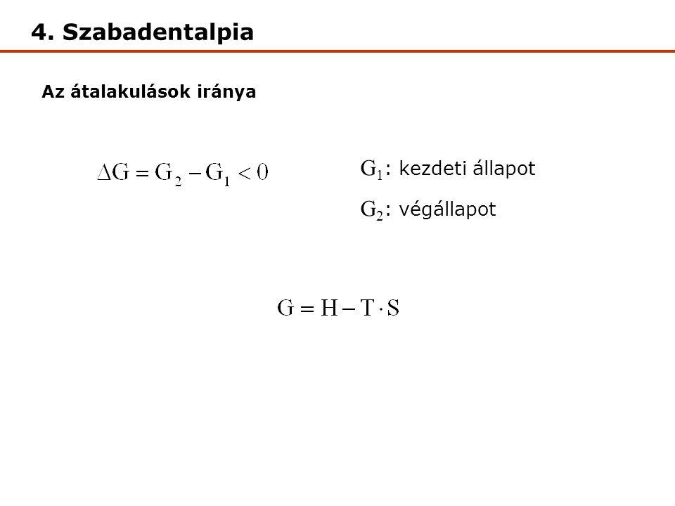 4. Szabadentalpia Az átalakulások iránya G 1 : kezdeti állapot G 2 : végállapot
