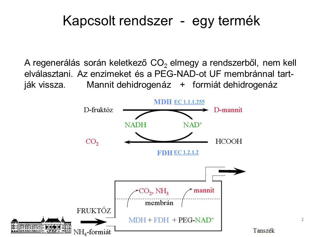 Kapcsolt rendszer - egy termék A regenerálás során keletkező CO 2 elmegy a rendszerből, nem kell elválasztani. Az enzimeket és a PEG-NAD-ot UF membrán