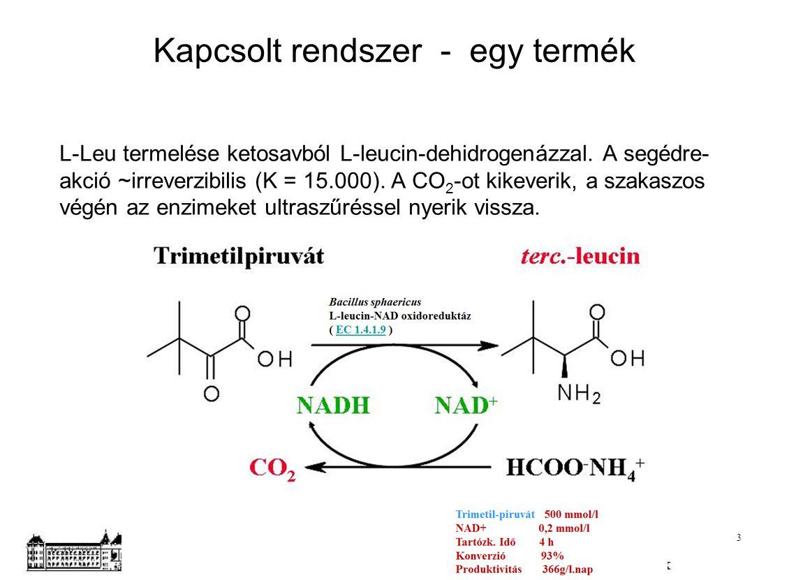 Kapcsolt rendszer - egy termék L-Leu termelése ketosavból L-leucin-dehidrogenázzal. A segédre- akció ~irreverzibilis (K = 15.000). A CO 2 -ot kikeveri