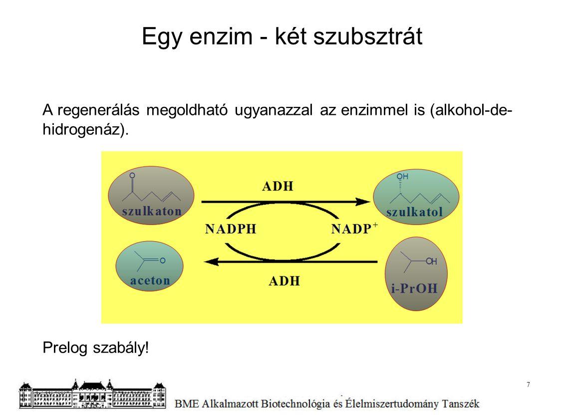 Egy enzim - két szubsztrát A regenerálás megoldható ugyanazzal az enzimmel is (alkohol-de- hidrogenáz). Prelog szabály! 7