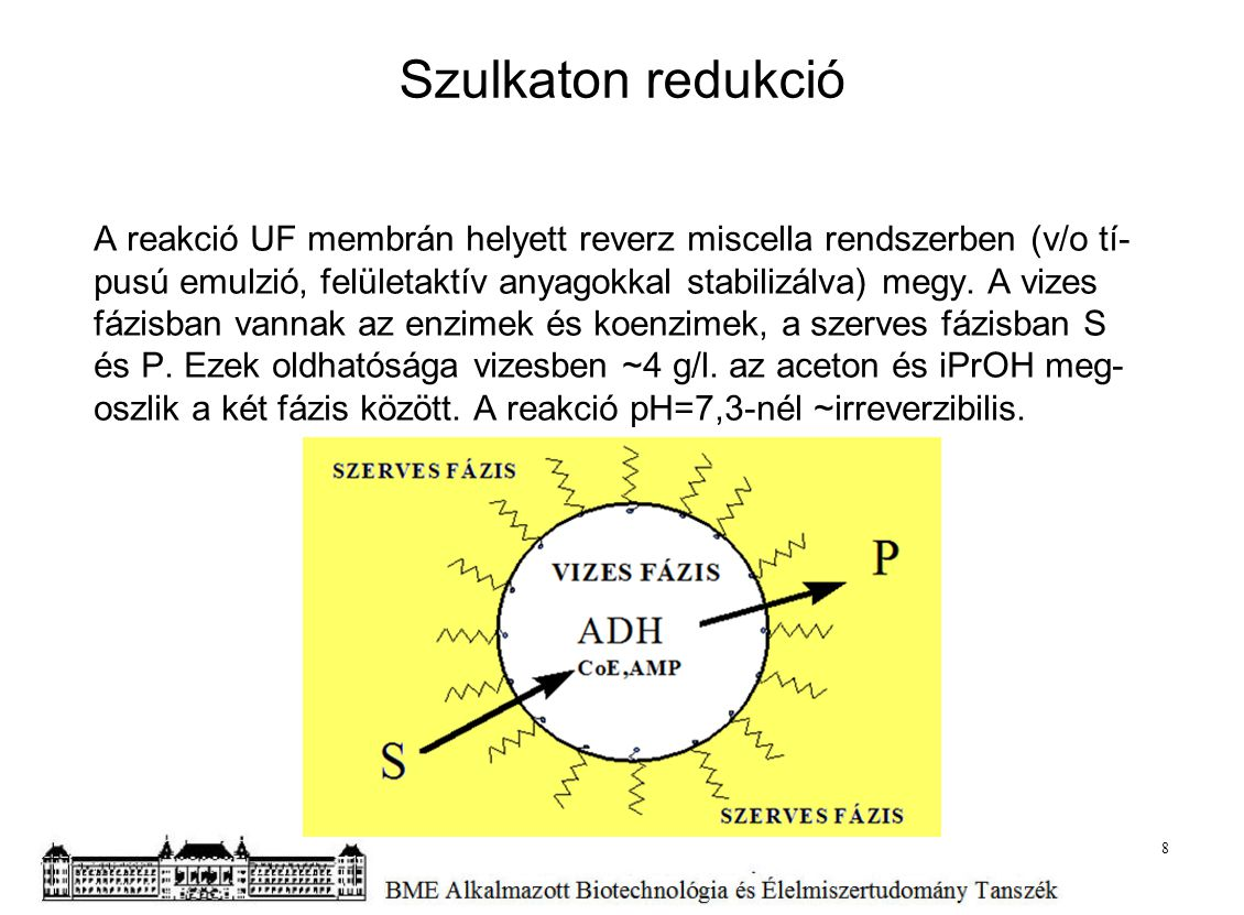 Szulkaton redukció A reakció UF membrán helyett reverz miscella rendszerben (v/o tí- pusú emulzió, felületaktív anyagokkal stabilizálva) megy. A vizes