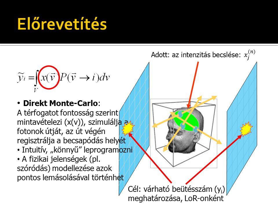 """Adott: az intenzitás becslése: Cél: várható beütésszám (y i ) meghatározása, LoR-onként Direkt Monte-Carlo: A térfogatot fontosság szerint mintavételezi (x(v)), szimulálja a fotonok útját, az út végén regisztrálja a becsapódás helyét Intuitív, """"könnyű leprogramozni A fizikai jelenségek (pl."""
