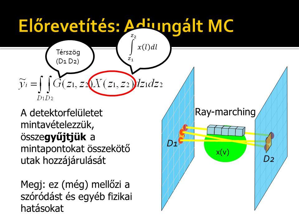 A detektorfelületet mintavételezzük, összegyűjtjük a mintapontokat összekötő utak hozzájárulását Megj: ez (még) mellőzi a szóródást és egyéb fizikai hatásokat x(v) Ray-marching D1 D2 Térszög (D1 D2)