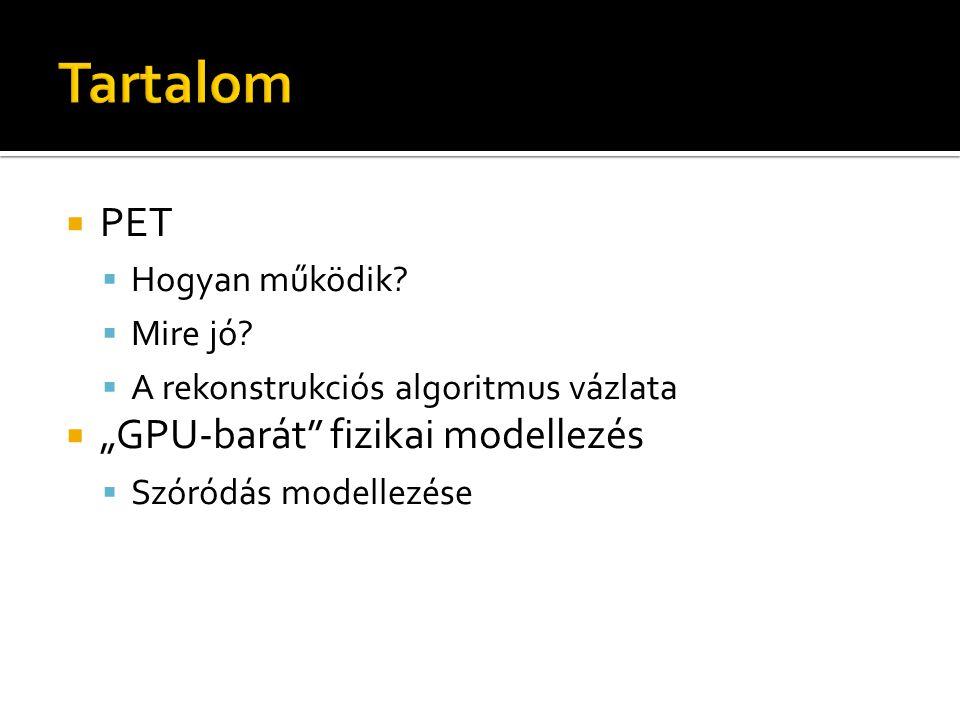 """ PET  Hogyan működik?  Mire jó?  A rekonstrukciós algoritmus vázlata  """"GPU-barát"""" fizikai modellezés  Szóródás modellezése"""