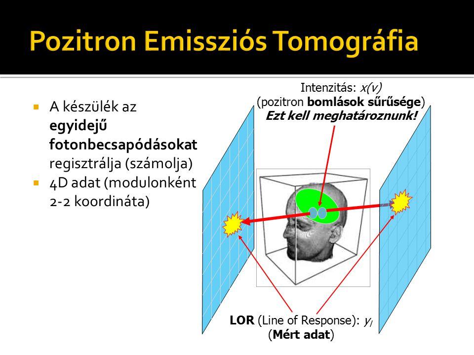 LOR (Line of Response): y l (Mért adat)  A készülék az egyidejű fotonbecsapódásokat regisztrálja (számolja)  4D adat (modulonként 2-2 koordináta) In