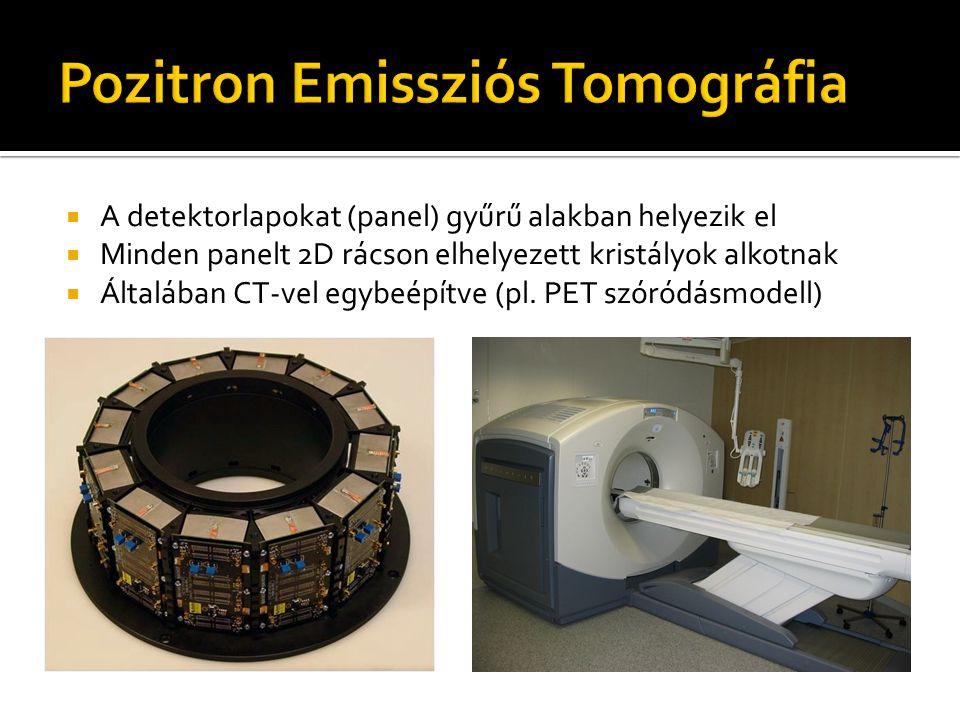  A detektorlapokat (panel) gyűrű alakban helyezik el  Minden panelt 2D rácson elhelyezett kristályok alkotnak  Általában CT-vel egybeépítve (pl.