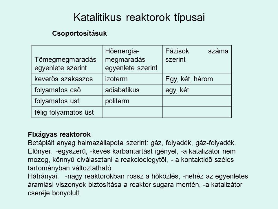 Katalitikus reaktorok típusai Csoportosításuk Tömegmegmaradás egyenlete szerint Hõenergia- megmaradás egyenlete szerint Fázisok száma szerint keverõs