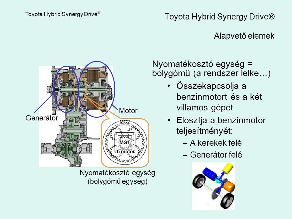 Nyomatékosztó egység = bolygómű (a rendszer lelke…) Összekapcsolja a benzinmotort és a két villamos gépet Elosztja a benzinmotor teljesítményét: –A ke