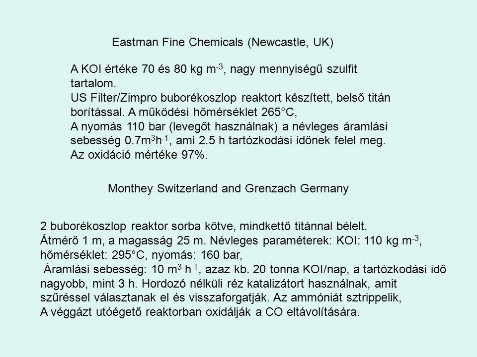 A KOI értéke 70 és 80 kg m -3, nagy mennyiségű szulfit tartalom. US Filter/Zimpro buborékoszlop reaktort készített, belső titán borítással. A működési