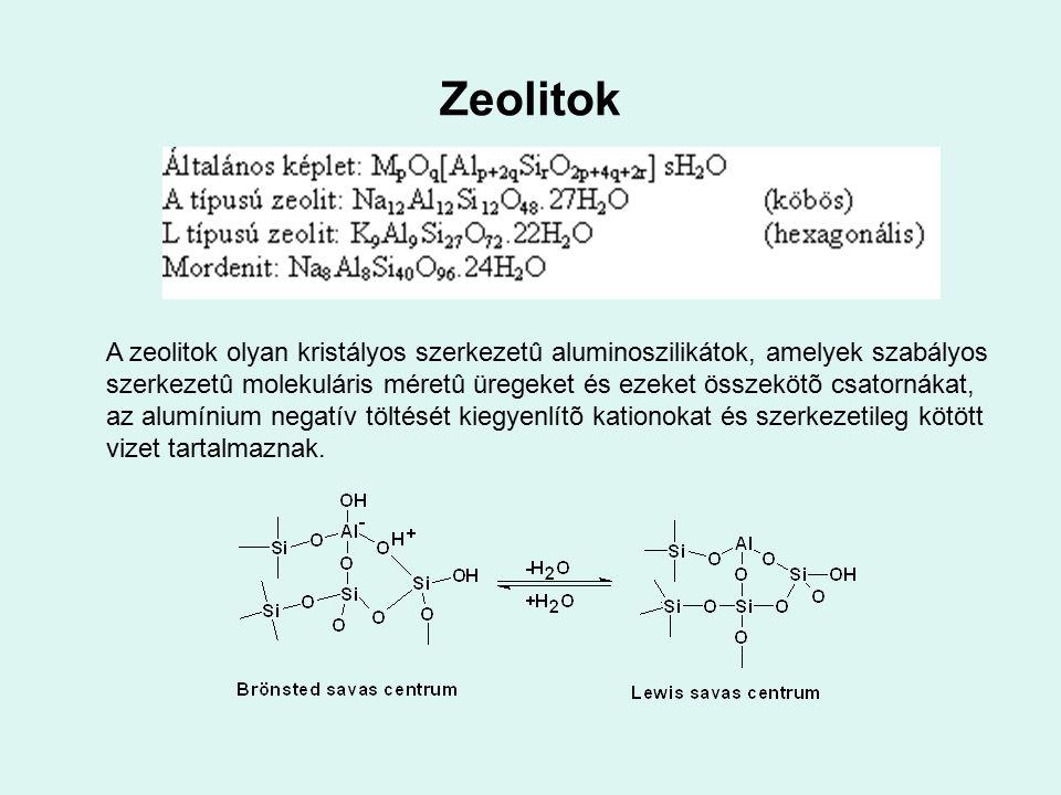 Zeolitok A zeolitok olyan kristályos szerkezetû aluminoszilikátok, amelyek szabályos szerkezetû molekuláris méretû üregeket és ezeket összekötõ csator
