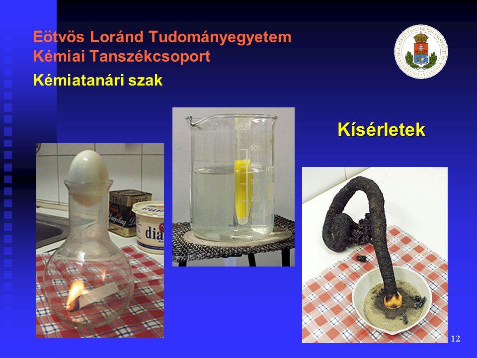 12 Eötvös Loránd Tudományegyetem Kémiai Tanszékcsoport Kísérletek Kémiatanári szak