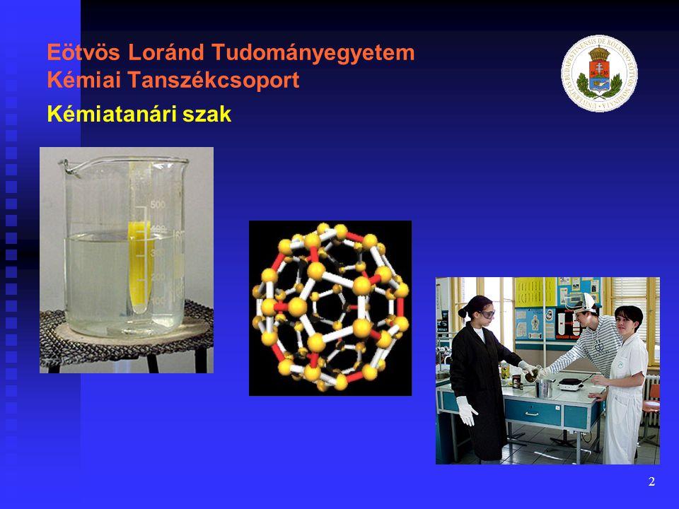 13 Eötvös Loránd Tudományegyetem Kémiai Tanszékcsoport Modellek Kémiatanári szak