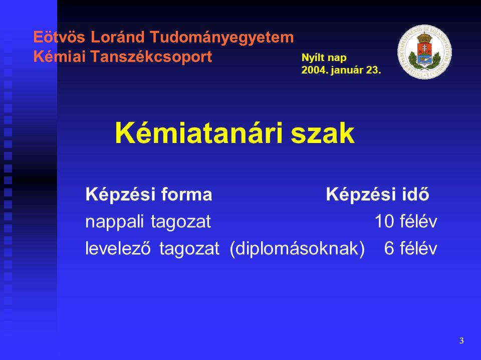 3 Eötvös Loránd Tudományegyetem Kémiai Tanszékcsoport Képzési forma Képzési idő nappali tagozat 10 félév levelező tagozat(diplomásoknak) 6 félév Kémiatanári szak Nyílt nap 2004.