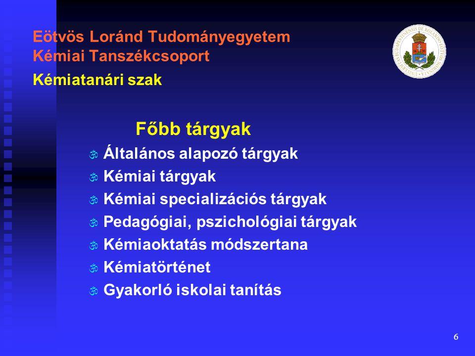 6 Eötvös Loránd Tudományegyetem Kémiai Tanszékcsoport Főbb tárgyak \ \ Általános alapozó tárgyak \ \ Kémiai tárgyak \ \ Kémiai specializációs tárgyak