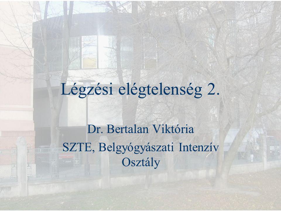 Légzési elégtelenség 2. Dr. Bertalan Viktória SZTE, Belgyógyászati Intenzív Osztály