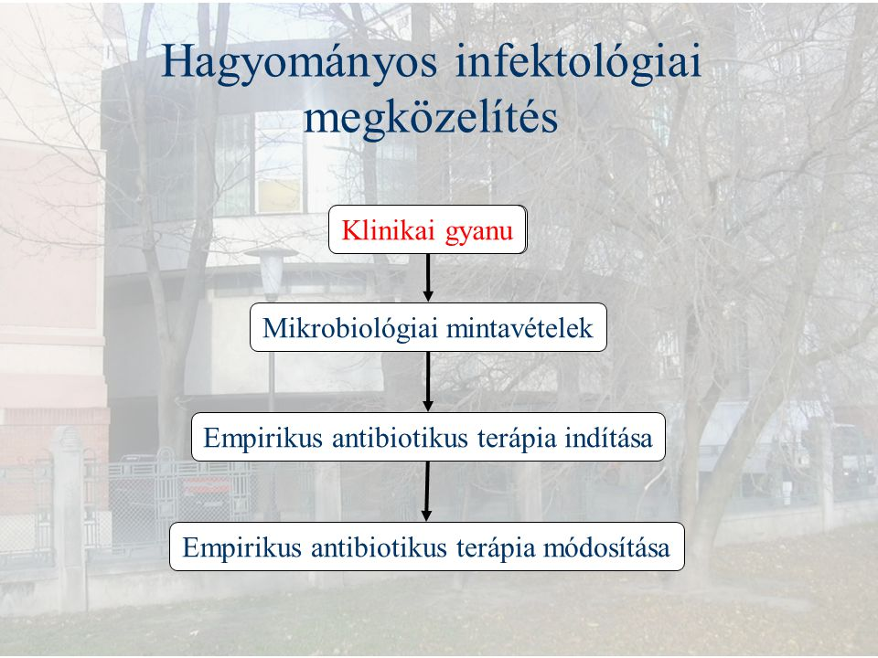 Hagyományos infektológiai megközelítés Klinikai gyanu Empirikus antibiotikus terápia módosítása Mikrobiológiai mintavételek Empirikus antibiotikus ter