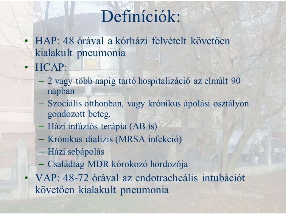 Definíciók: HAP: 48 órával a kórházi felvételt követően kialakult pneumonia HCAP: – 2 vagy több napig tartó hospitalizáció az elmúlt 90 napban – Szoci