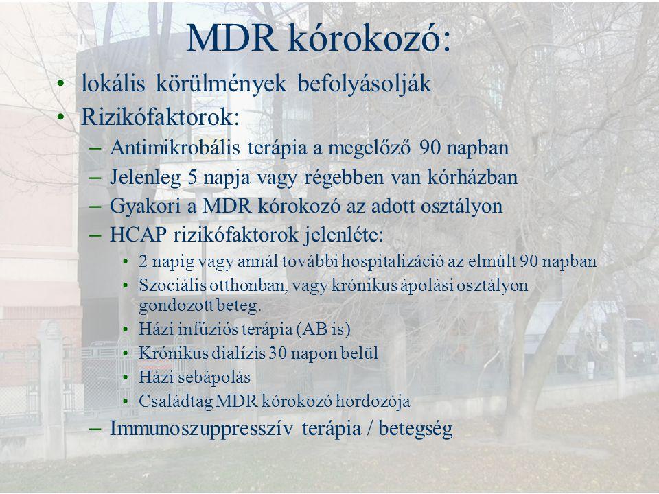MDR kórokozó: lokális körülmények befolyásolják Rizikófaktorok: – Antimikrobális terápia a megelőző 90 napban – Jelenleg 5 napja vagy régebben van kór