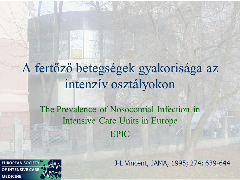 EPIC 1 napos pont-prevalencia tanulmány 17 nyugat-európai ország 1417 intenzív osztály 10 038 intenzív osztályon kezelt beteg 4501 betegben egy vagy több infekció Összes beteg 44.8 % - a fertőzött