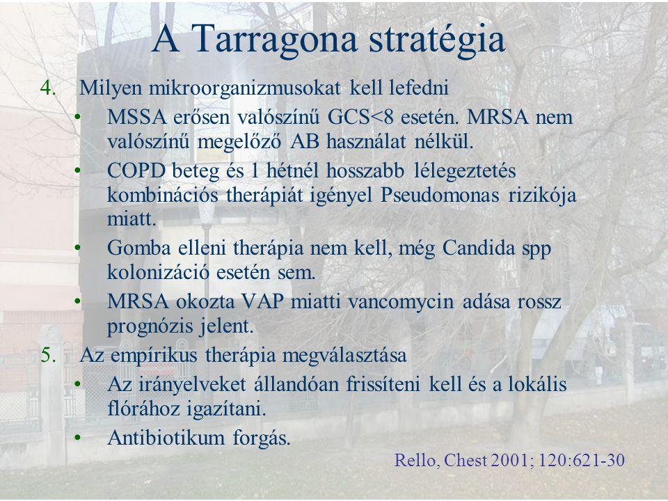 A Tarragona stratégia 4.Milyen mikroorganizmusokat kell lefedni MSSA erősen valószínű GCS<8 esetén. MRSA nem valószínű megelőző AB használat nélkül. C