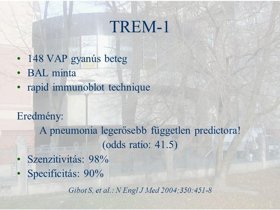 TREM-1 148 VAP gyanús beteg BAL minta rapid immunoblot technique Eredmény: A pneumonia legerősebb független predictora! (odds ratio: 41.5) Szenzitivit