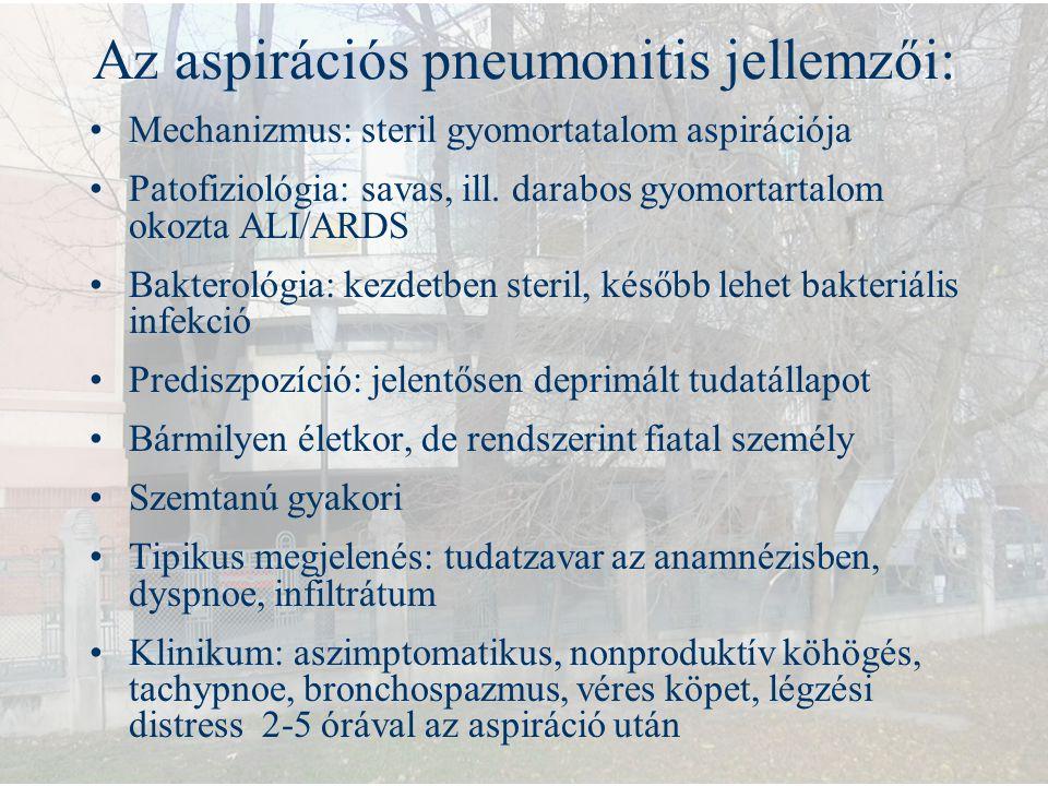 Az aspirációs pneumonitis jellemzői: Mechanizmus: steril gyomortatalom aspirációja Patofiziológia: savas, ill. darabos gyomortartalom okozta ALI/ARDS
