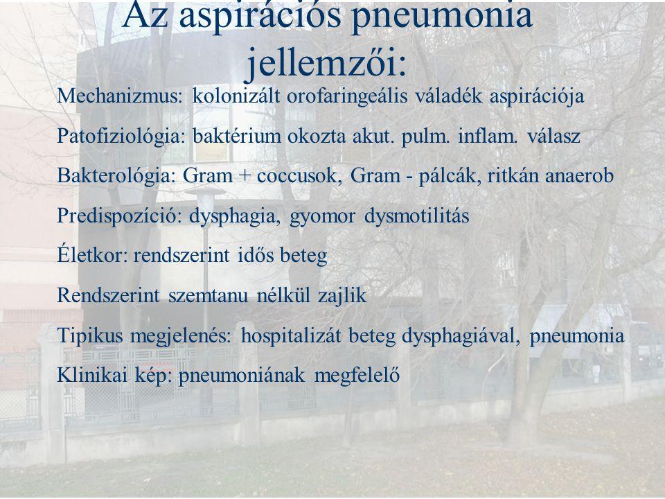 Az aspirációs pneumonia jellemzői: Mechanizmus: kolonizált orofaringeális váladék aspirációja Patofiziológia: baktérium okozta akut. pulm. inflam. vál