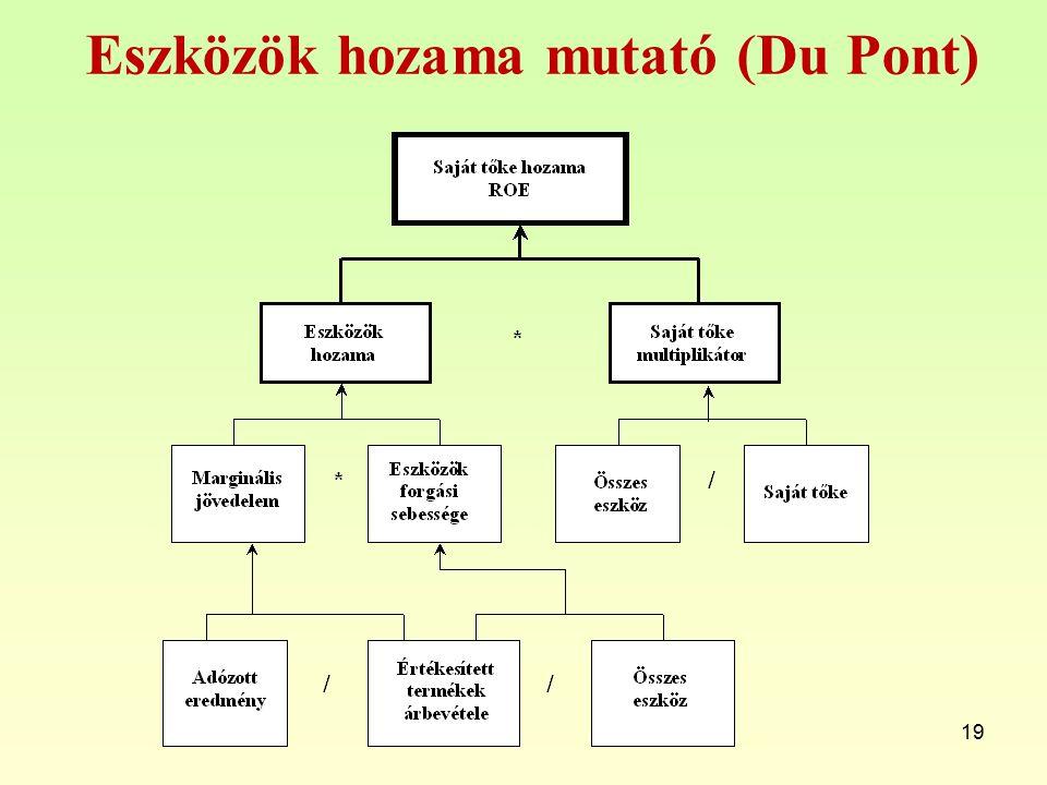 Eszközök hozama mutató (Du Pont) 19